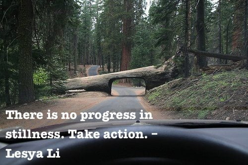There is no progress in stillness. Take action.