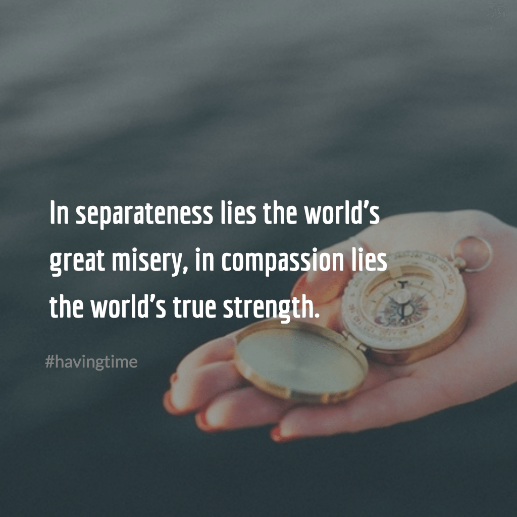In separateness lies the world's great misery, in compassion lies the world's true strength. ~Buddha